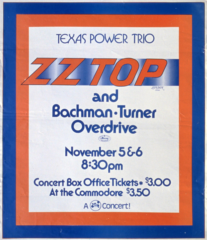 ZZ Top, Bachman Turner Overdrive @ The Commodore